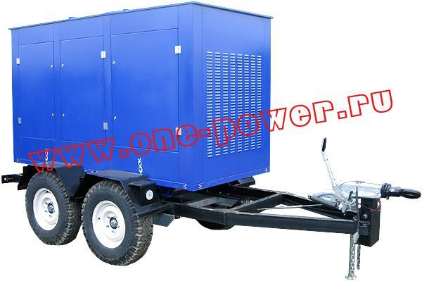 Дизельный генератор 100 кВт с двигателем ЯМЗ исполнение в капоте на двухосном прицепе