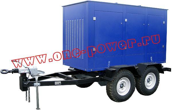 Дизельная электростанция ЭД-100, исполнение в капоте на двухосном прицепе