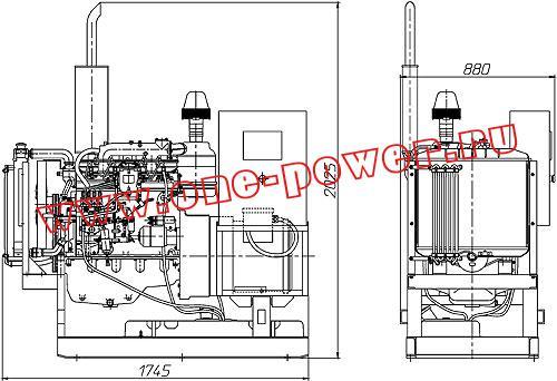 чертеж, дизельный электростанция, дизель генератор