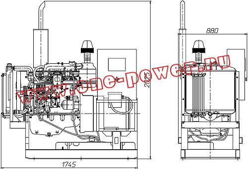 Дизельная электростанция АД-16, чертеж