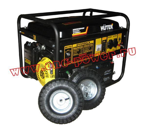 Бензиновый генератор Huter DY6500LX с колесами и аккумулятором