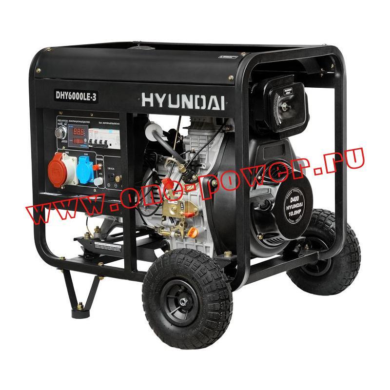 Дизельный генератор 5 кВт Hyundai DHY 6000LE-3